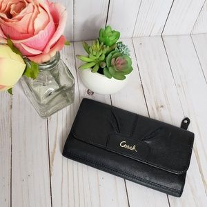 Coach Black Leather Foldover Wallet